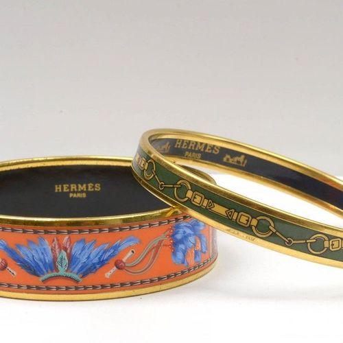 HERMÈS Paris Two vintage enamel bracelets by Hermès. Size L. In very good condit…