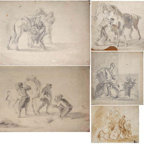 """VAN DER MEULEN (XVIIIème). (?). Set of five drawings representing """"Scenes from t…"""