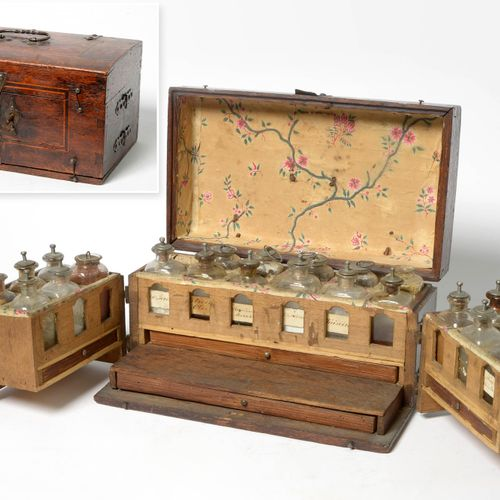 Doctor's box in carved wood, marquetry and ironwork including 23 glass vials and…