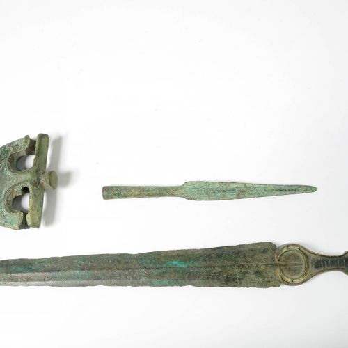 "Set of three bronze objects: a ""Sword"", a ""Halberd Axe"" and a ""Spear point javel…"