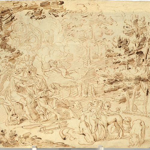 """""""Venus and Adonis"""" brown ink pen on watermarked laid paper. Anonymous. French sc…"""