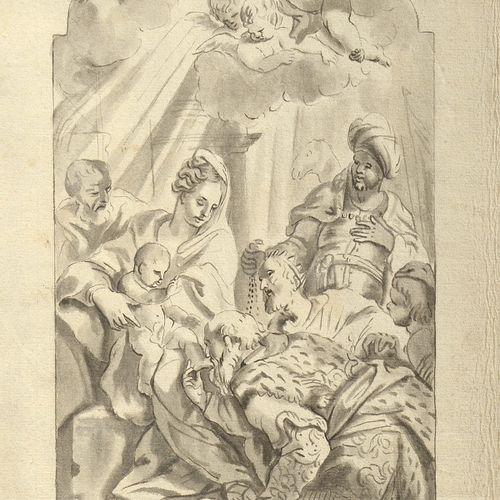 "DE BISSCHOP Jan (1628 1671). Dans le goût de. ""Adoration of the Magi"" grey ink b…"