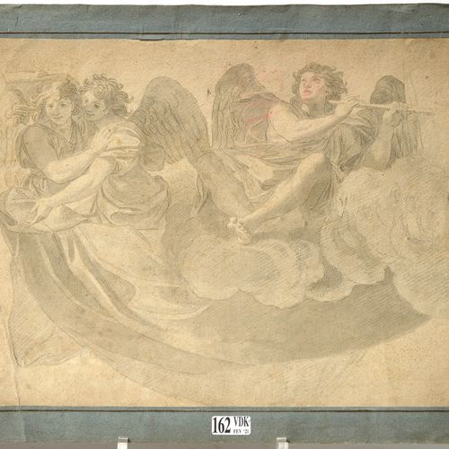 """""""Ceiling study representing musical angels"""" graphite and grey ink wash on paper.…"""