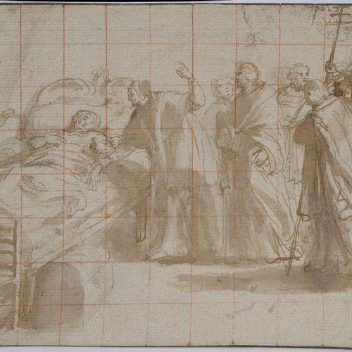 """La Dormition de la Vierge"" (?), pen and brown ink wash on tiled paper. Anonymou…"