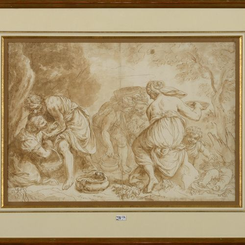 """Allegorical scene"" pen and brown ink wash on laid paper. Anonymous. Probably fr…"