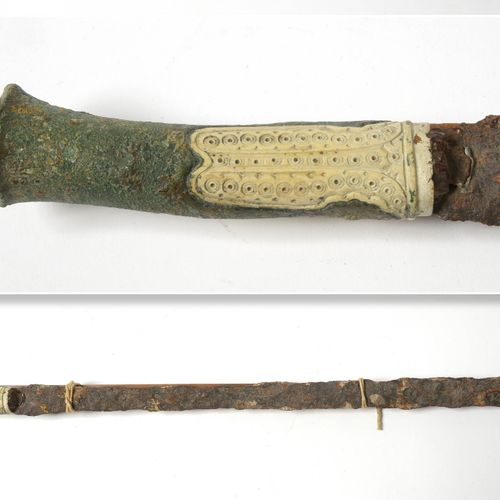 Short iron sword with bronze and carved bone hilt. Work from Asia Minor, Lurista…