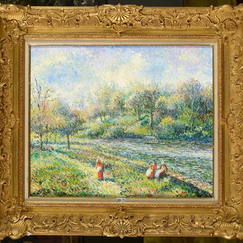 "PISSARRO Hugue Claude (1935) Oil on canvas ""Gossips at the water's edge"". Signed…"
