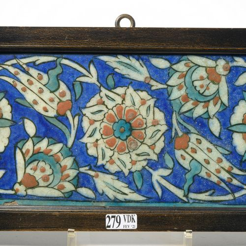 Iznik siliceous ceramic covering tile with polychrome floral decoration in green…