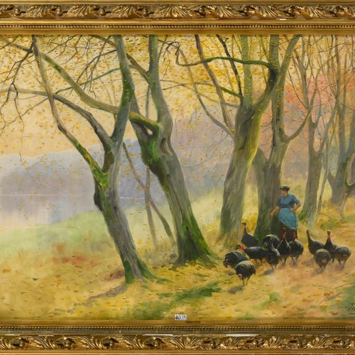 "HAGEMANS Maurice (1852 1917) ""Turkey keeper in the forest"" watercolor on paper. …"