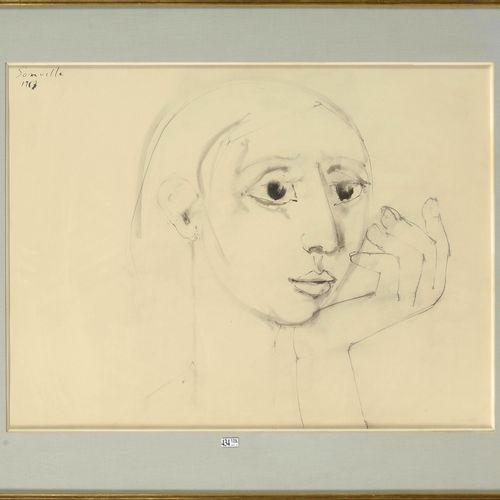 """SOMVILLE Roger (1923 2014) """"Pensive Woman"""" ink quill and wash on paper. Signed u…"""