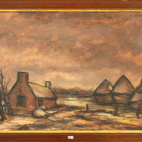 """JESPERS Floris (1889 1965) """"Farm and haystacks"""" watercolor on paper. Signed lowe…"""