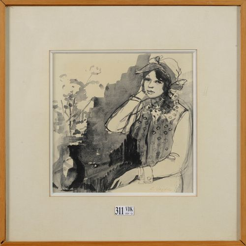 """VADJA Lajos (1908 1941) """"Portrait of a young girl leaning over"""" black ink brush …"""