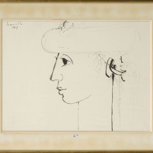 """SOMVILLE Roger (1923 2014) """"Woman with the hat in profile"""" black ink pen on pape…"""