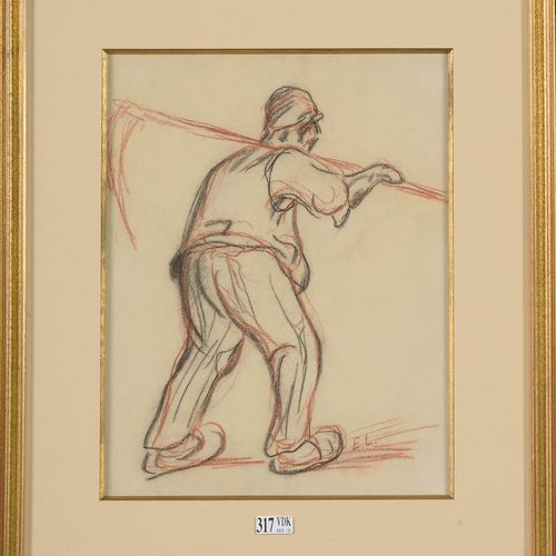 """LAERMANS Eugène (1864 1940) """"Peasant from behind"""" charcoal and blood on paper. M…"""