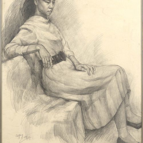 "YONG Cao (1963). (?). ""Sitting woman"" graphite on paper. Signed lower left Cao Y…"