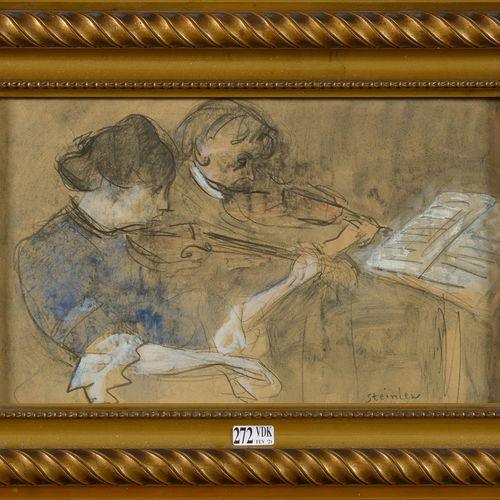 "STEINLEN Théophile Alexandre (1859 1923) ""The Violinists"" charcoal and watercolo…"