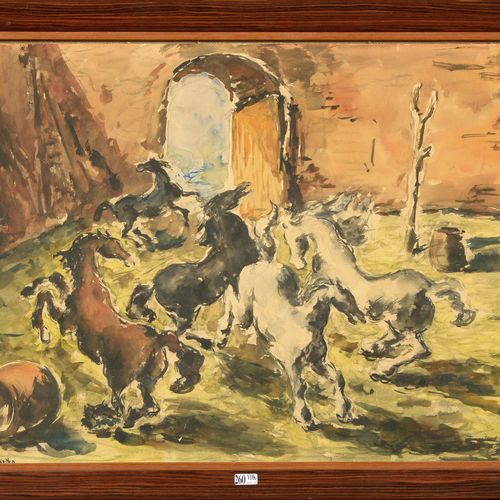 "SOUTO Arturo (1902 1964) ""Horses in the Arena"" watercolor on paper. Signed lower…"