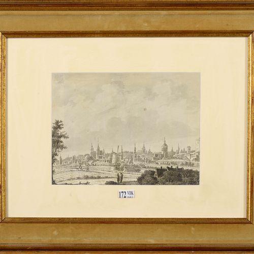 """VERRIJK Theodor Dirk (1734 1786) """"Vue de la Ville de Bruxelles"""" black ink pen an…"""