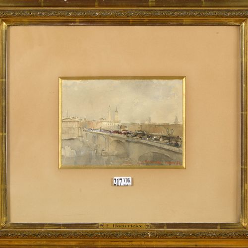 "HOETERICKX Emile (1858 1923) ""The London Bridge"" watercolour on paper. Signed lo…"
