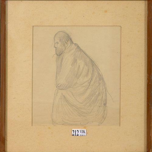 """MINNE George (1866 1941) """"Study for Jan van Ruusbroeck"""" graphite on paper. By Ge…"""
