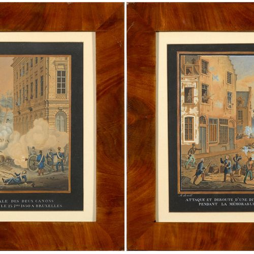 "DE WIT R. (XIXème) Pair of watercolours on paper representing ""Scenes from the B…"