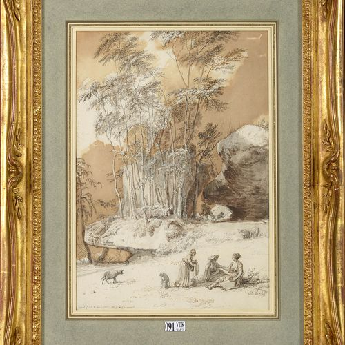 "HOUEL Jean (1735 1813) ""Rest at the edge of the forest"" black and brown ink pen …"