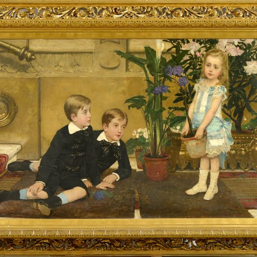 "VERHAS Jan (1834 1896) Oil on canvas ""Children's games in an interior"". Signed i…"
