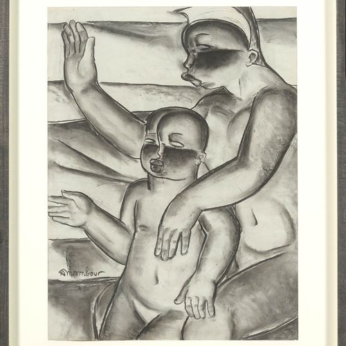 "MAMBOUR Auguste (1896 1968) ""African motherhood"" charcoal on paper. Signed lower…"