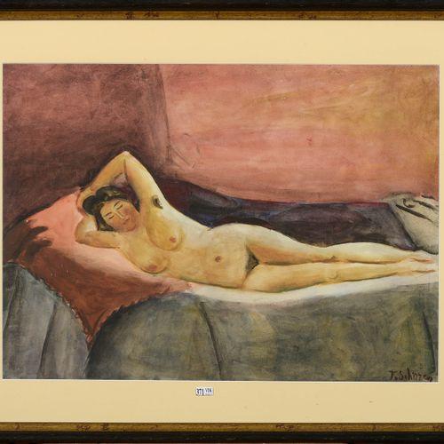 "SCHIRREN Ferdinand (1872 1944) ""The Beautiful Odalisque"" watercolor on paper. Si…"