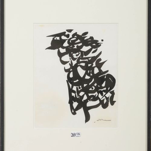 """DOTREMONT Christian (1922 1979) """"Calligraphic composition"""" black ink on paper gl…"""