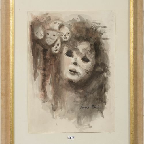 """FINI Léonor (1908 1996) """"The Masks"""" watercolor on paper. Signed lower right Léon…"""