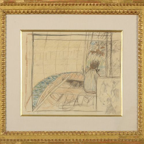 "BONNARD Pierre (1867 1947) ""In a boat"" graphite, charcoal and crayons on paper. …"