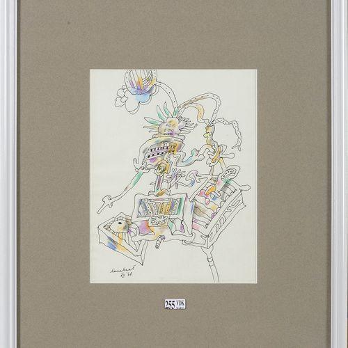 """LUCEBERT (1924 1994) """"Composition"""" black felt pen and coloured pencils on paper.…"""