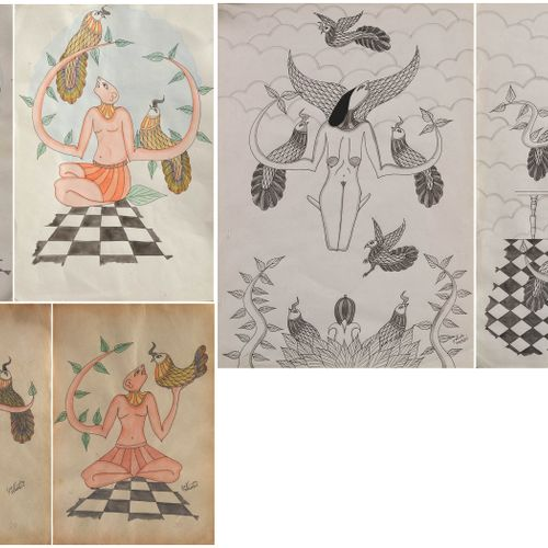 SALADI Abbès (1950 1992) Set of six drawings: two in ink and wash and four in wa…