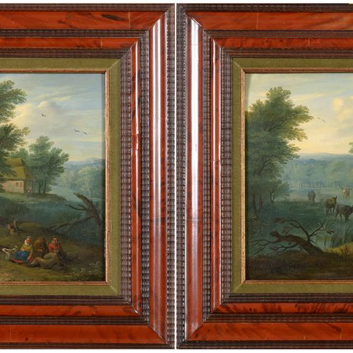 """BESCHEY Carel (1706 1776) Pair of oil paintings on oak panel reinforced with """"Th…"""