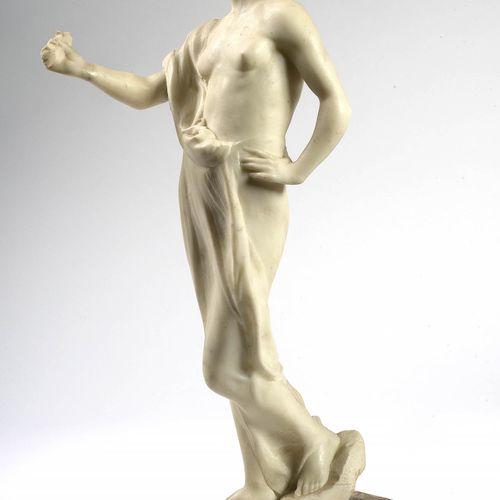 "TUERLINCKX Boudewyn (1873 1945) 白色大理石雕刻的 ""春天的寓言""。签名:B.Tuerlinckx,日期为1901年。安放在角砾岩…"