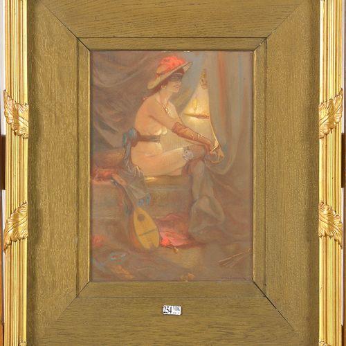 """DE BOEVER Jan Frans (1872 1949) """"Vesta"""" gouache sur papier collé en plein sur ca…"""