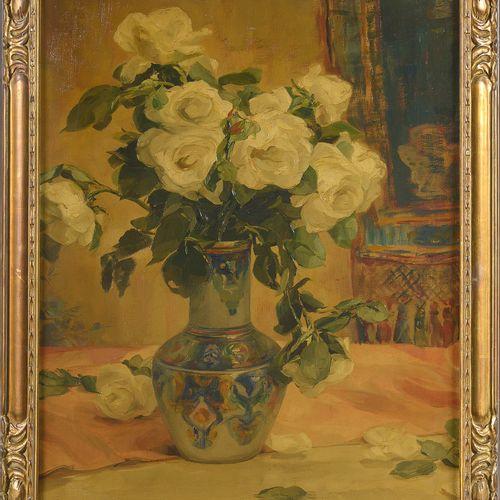 """DRUMAUX Angelina (1881 1959) Huile sur toile """"Nature morte au vase de roses blan…"""