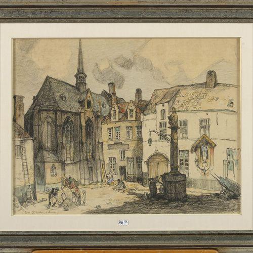 "DUMOULIN Roméo (1883 1944) ""安特卫普的Sint Niklaas广场"" 纸上炭笔、彩色铅笔和水彩画。签名右下:罗密欧 杜姆林。比利时的…"