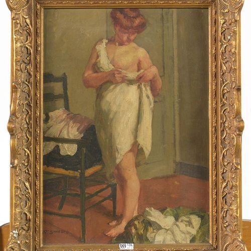 """SMEERS Frans (1873 1960) Huile sur panneau d'acajou """"Après la toilette"""". Signé e…"""
