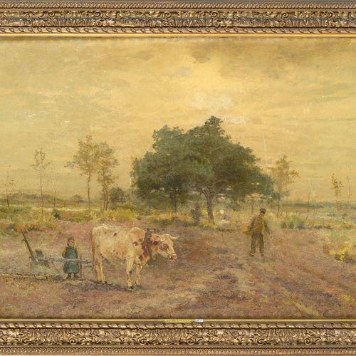 """HEYMANS Adrien Joseph (1839 1921) Huile sur toile marouflée sur toile """"Le labour…"""