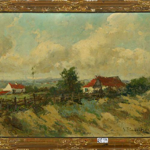 FLASSCHOEN Gustave (1868 1940) 油画《渔民之家风景》。签名右下:G. Flasschoen。比利时的学校。尺寸:+/ 30,4x4…