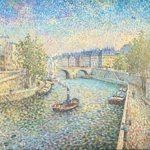 BÜHLER E. (XIXème) 布面油画《巴黎塞纳河风光》。左下角签有E.Bühler (?)和日期(18)73。美国学校(?)。(有轻微破损和一个洞)。…