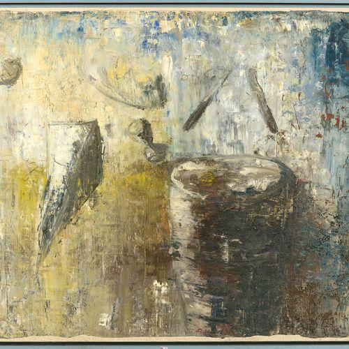 "PAUWELS Hugo (1954) 铺在画布上的油彩 ""蓝色背景上的构图""。右下角有Pauwels的签名,日期为(19)78(?)或(19)98(?)。比利…"