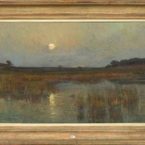 """VAN DOREN Emile (1865 1949) Huile sur toile """"Vue du coucher de soleil sur le mar…"""