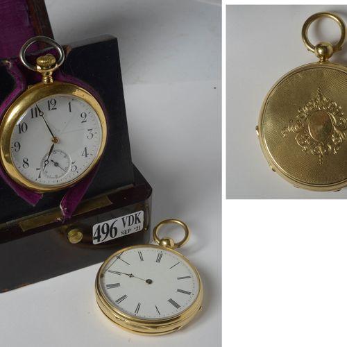 Deux montres gousset en or jaune 18 carats. Clefs jointes. Dim.:+/ 6.5x4.5cm et …