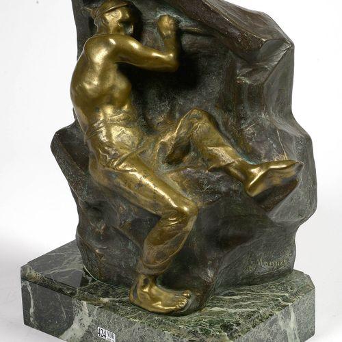 """MEUNIER Constantin (1831 1905) """"Le mineur"""" en bronze à patine brune et dorée. Si…"""