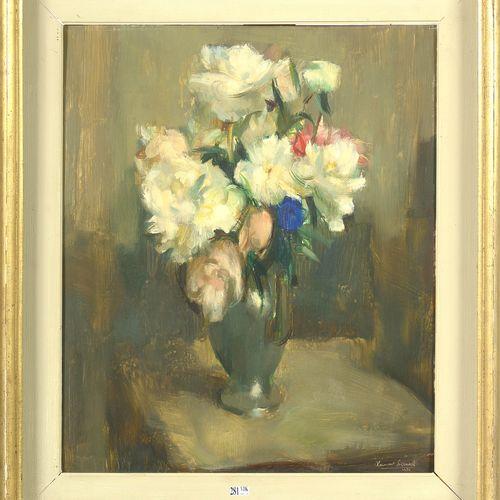 """SERNEELS Clément (1912 1991) Huile sur panneau """"Nature morte au vase de fleurs"""".…"""