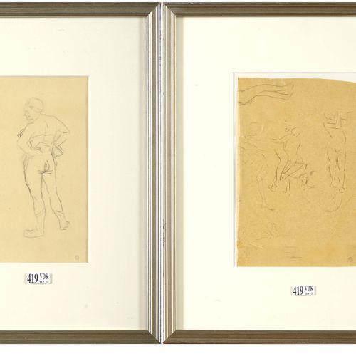 """ROPS Félicien (1833 1898) Lot de deux dessins comprenant: un """"Nu féminin de dos""""…"""