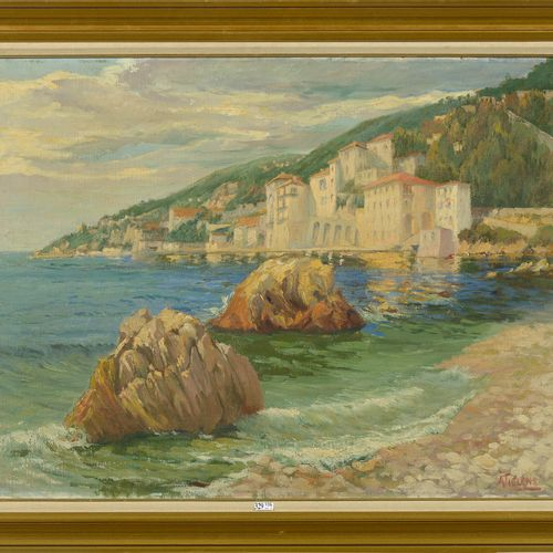 TIELENS Alexandre (1868 1959) 布面油画《海滨维拉弗朗什的景色》。右下角签有A.铁兰斯。比利时的学校。尺寸:+/ 60x80厘米。